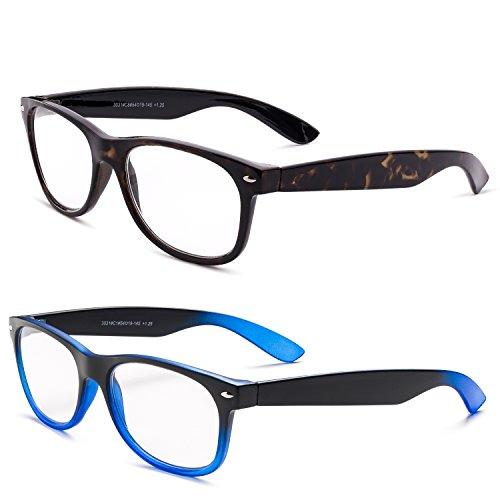 Specs Wayfarer Reading Glasses (Shiny Havana and Black/ Bright Blue Gradient) +1.75 2-Pack