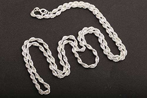 - Turkish Handmade Jewelry Rhodium Silver Color 72 cm & 28 inches Long Chain 925 Sterling Silver Auger Style Pendant Chain