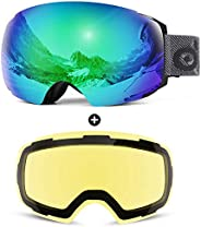 Odoland Ski Goggles, OTG and UV Protection Snowboard Goggles with Magnetic Interchangeable Lens for Men &
