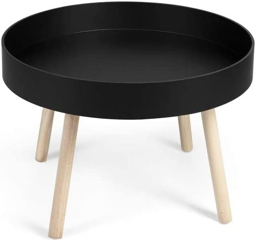 LIFA LIVING Round Side Table with Storage Box 60 x 60 x 44 cm Kitchen Bedroom MDF Wooden Removable Top Modern End Coffee Table for Living Room Black