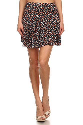 Womens Red Floral Printed Polyester Fashion Princess Skirts by LA12ST