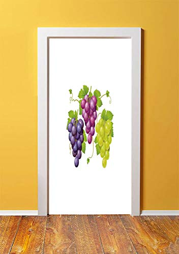 Grapes Home Decor 3D Door Sticker Wall Decals Mural Wallpaper,Three Cluster of Ivy Burgundy Region Blending Fresh Picture Artwork,DIY Art Home Decor Poster Decoration 30.3x78.2204,Purple Green ()