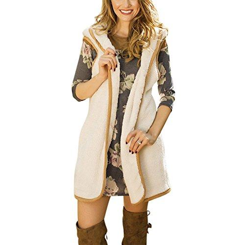 Femme Mode Capuche Cardigan Gilet Longue Blanc Hiver Manteau Ishine Printemps Chaud Pour Automne Caparaçon Fille Manches À Sans Bf4qq7t
