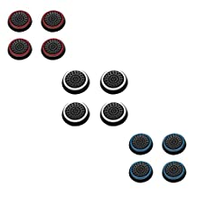 Insten [6 Pair / 12 Pcs] Silicone Analog Thumb Grip Stick Cover for PS4 Dualshock 4/ PS3 Dualshock 3/ PS2 Dualshock/ Xbox One Wireless/ Xbox 360 Controllers (Black/Red, Black/Blue, Black/White)