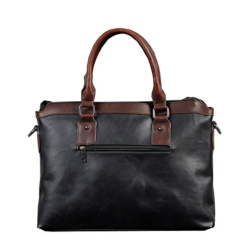 Herren Retro PU Aktentasche Handtasche Schultertasche Business Laptop Messenger Bag (Schwarz) Schwarz 2KzUJF