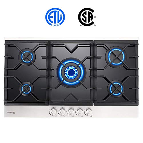 Gas Cooktop, Gasland chef GH90BF 36 Built-in Gas Stove Top, Tempered Glass LPG Natural Gas Cooktop, Gas Stove Top with 5 Sealed Burners, ETL Safety Certified, Thermocouple Protection & Easy To Clean