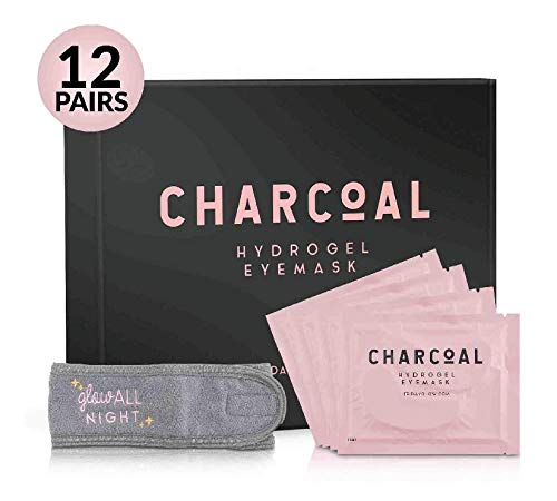 Under Eye Patches - Charcoal Hyaluronic Acid - Eye Mask for Puffy Eyes - Dark Circles Under Eye Treatment - Under Eye Bags Treatment for Women and Men, Gel Pads (12 Pairs + Bonus Gift) by Friday Glow