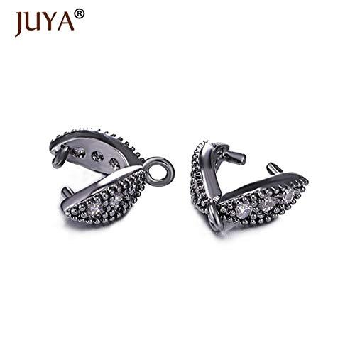 - Kamas Jewelry Findings DIY Parts Accessories Crystal Agate Pendant Clasp Connectors Copper Pinch Clip Bail Link Pendants Clasps - (Color: Black, Size: 4 Pieces)
