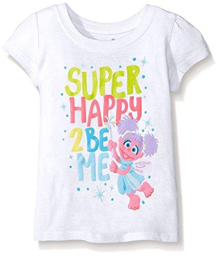 Sesame Street Little Girls' Toddler Short Sleeve T-Shirt, White, -
