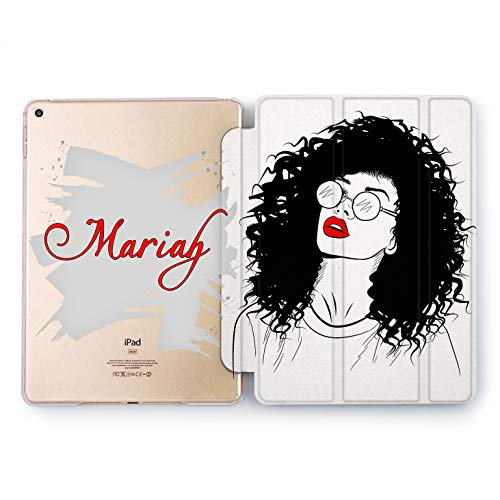 Wonder Wild Fashion Woman Apple iPad Pro Case 9.7 11 inch Mini 1 2 3 4 Air 2 10.5 12.9 2018 2017 Design 5th 6th Gen Clear Smart Hard Cover Customized Lady Print Hair Lips Glass Monochrome Print Name]()