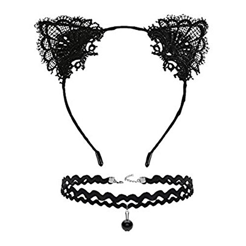 - Song Cosplay Costume Lace Cat Ears Hair Hoop Headband + Lace Choker Necklace Set