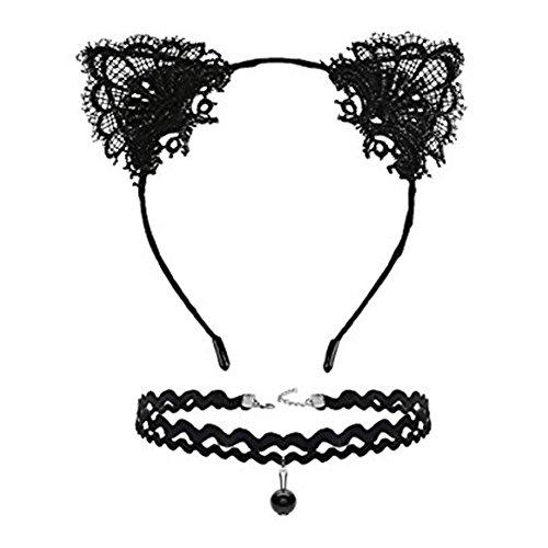 Eye Necklace Cat Choker (ZTL Cat Ears Headband Lace Choker Necklace Pack of 2 Fancy Dress for Women Girls)