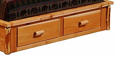 Fireside Lodge Furniture Cedar Hand Crafted Traditional Log Queen Footboard Two Drawer Dresser For Platform Bed, Queen, Complete Footboard, Traditional Cedar