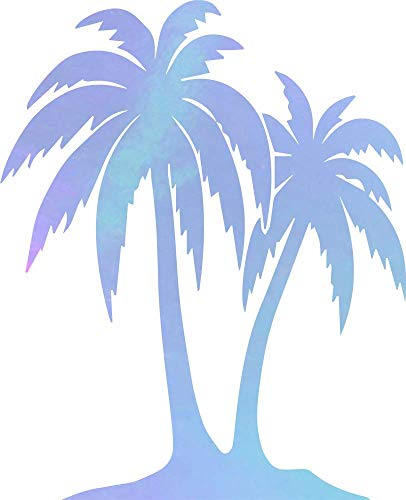 ANGDEST Palm Trees (Hologram) (Set of 2) Premium Waterproof Vinyl Decal Stickers for Laptop Phone Accessory Helmet Car Window Bumper Mug Tuber Cup Door Wall Decoration (Trees Two Logo Palm)