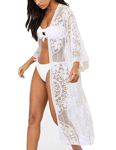 Bsubseach Women White Sexy Lace Long Sleeve Swimsuit Embroidery Beach Kimono Cardigan Bikini Cover Up