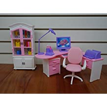Barbie Size Dollhouse Furniture- Home Office Computer Lamp Printer