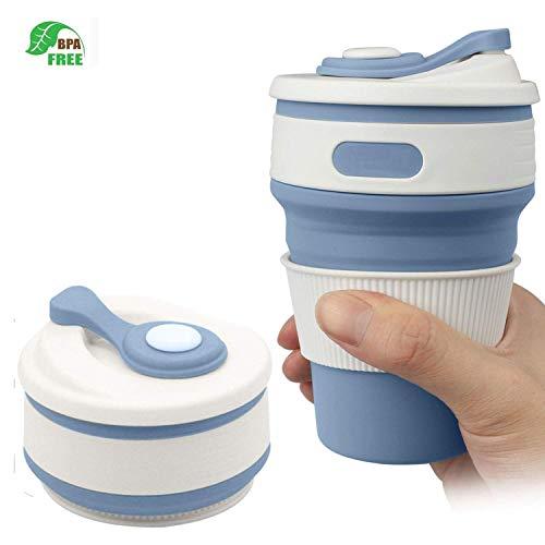 C CLTEIN Collapsible Cup with Lid,RANLOK BPA Free Travel Mug, Microwave and Dishwasher Safe Coffee Mug (Light Blue, 12oz)