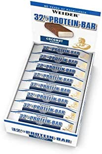 [Gesponsert]WEIDER 32% Protein Bar, Kokos, 24 leckere Eiweißriegel mit zartem Schokoladenüberzug