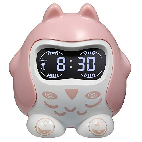 Alarm Clock for Kids, Children Sleep Trainer Clock, Wake up Alarm Clock with 9 Sleep Sounds & Lullaby, 7-Color Night Light,Nap,Timer, Plug-in & Battery Operated Digital Clock for Toddlers' Bedroom