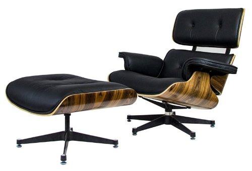 RetroMod Angus Lounge Palisander Chair with Ottoman, Black