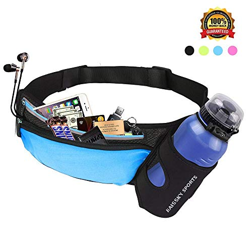 Running Belt Waist Pack with Water Bottle Holder Fitness Waterproof Bum Bag Cycling Waist Bag Workout Pouch Dog Walking Bag For Travelling Running Cycling Camping Hiking with Headphone Hole (blue) (Best Bum Bags For Travelling)