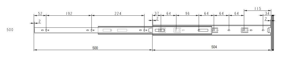 30 kg 400 mm 1 par de gu/ías correderas a bolas para un caj/ón L 350//400//450//500//550 mm//extracci/ón total//carga m/áxima L