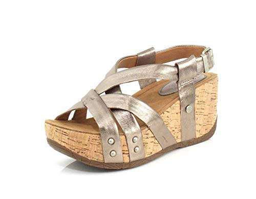 a Leather Strappy Open Toe Platform Wedge Buckle Sandal(White Gold Metallic,37 M EU) ()