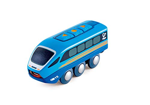 Remote Railway Control Wooden - Hape Remote Control Car,  Train Car , Kids  Railway Toy, App or Button RC Vehicle with 5 Playable Sounds, Rechargeable Battery Feature, Blue