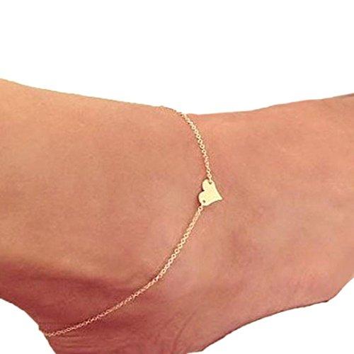 Auwer Bracelet, Girl Fashion Simple Heart Ankle Bracelet Chain Beach Foot Sandal Jewelry (Gold)