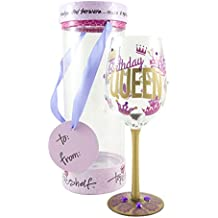 """Top Shelf """"Birthday Queen"""" Decorative Wine Glass ; Funny Gifts for Women ; Hand Painted Purple and Gold Design ; Unique Red or White Wine Glasses"""