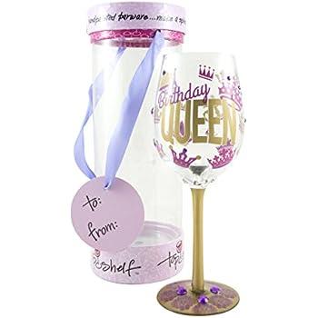 Amazoncom Top Shelf Birthday Queen Decorative Wine Glass Funny
