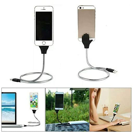 Lazy Stand Up USB Charging Cable Flexible Phone Stand Holder For ios Android and Type-c (Silver, For Type-c)
