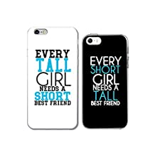 iPhone 6/6S +5 Couple Case for Best Friend-TTOTT Floral Tall Short Girl need Stylish Ultra-Slim Bumper Protective Back Case for iPhone [Left for iPhone 6 6S Right for iPhone5/5S/SE]