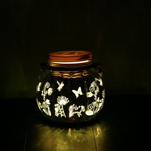 Candle Choice Mason Jar Light Indoor Outdoor Lantern Battery Operated Jar Light with Remote and Timer Christmas Light, Butterfly