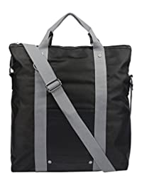 Buffalo David Bitton Jules Fold Over Tote Bag, Black/Grey, International Carry-On