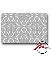 ZMvise White and Grey Clover Non-Slip Bath Shower Area Rug Floor Door Mats Front Entry Carpet Indoor Doormat Outdoor Felt