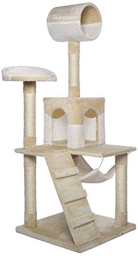 Dibea KB00354 Rascador para Gatos, 133 Cm, Árbol Escalador Arañar Juguete Beige y Blanco