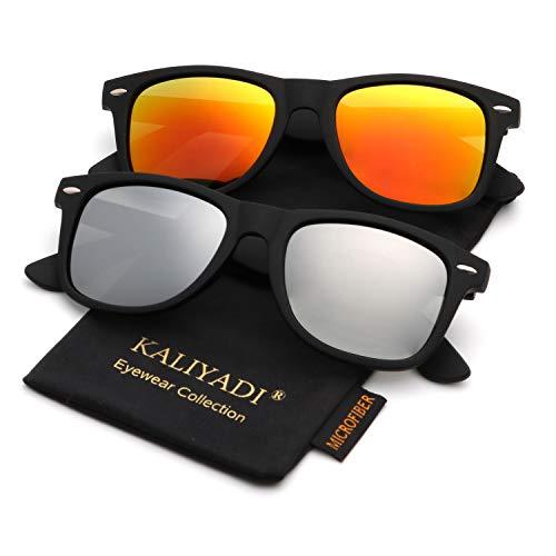 Polarized Sunglasses for Men and Women Matte Finish Sun glasses Color Mirror Lens 100% UV ()