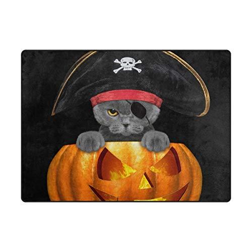 Senya Doormat Outdoor Mats Halloween Pirate Cat Entrance Waterproof Rugs Non Slip Front Door Carpet for House Hotel Patio Garage