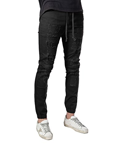 00011faf JD Apparel Men's Slim Fit Ripped Destroyed Biker Jogger Pants