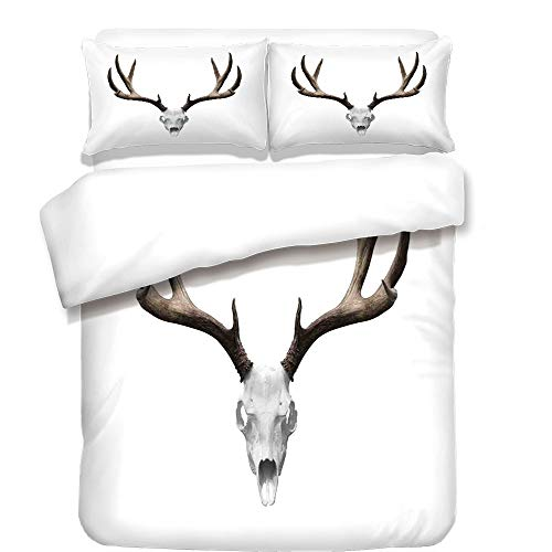 iPrint 3Pcs Duvet Cover Set,Antlers Decor,A Deer Skull Skeleton Head Bone Halloween Weathered Hunter Collection Decorative,Best Bedding Gifts for Family/Friends