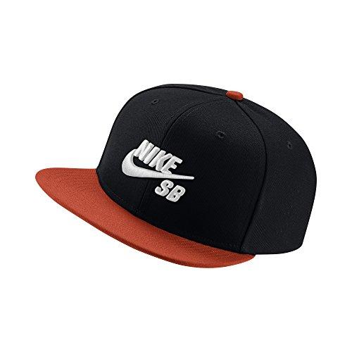 Nike Men's SB Icon Adjustable Snapback Hat, Black/Team Orange