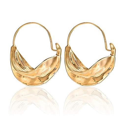 - Gold Drop Big Dangle Earrings for Women, Geometric Tribal Half Moon Earrings, Statement Large Hoop Earrings