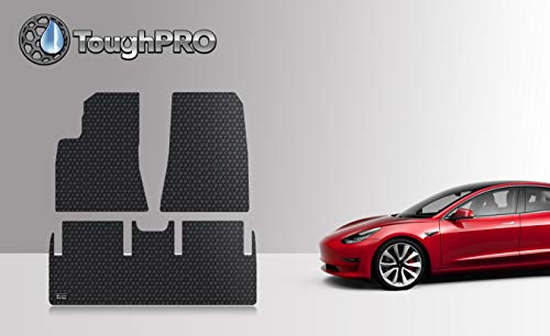 ToughPRO Floor Mats Set (Front Row + 2nd Row) Compatible with Tesla Model 3 - All Weather - Heavy Duty - (Made in USA) - Black Rubber - 2019 (Best Selling 3 Row Suv)