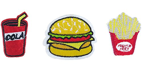 Frogsac Set-3 Trendy Fun Styles Embroidered Motifs Decoration Patches Applique Sets, Iron-On or Sew On (Cola - Hamburger - Fries)