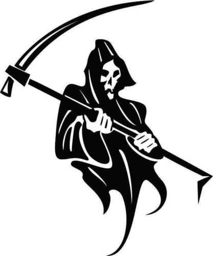 GRIM REAPER SKULL AND SCYTHE CAR DECAL STICKER, Black, 6 In, Die Cut Vinyl Decal, For Windows, Cars, Trucks, Toolbox, Laptops, Macbook-virtually Any Hard Smooth Surface