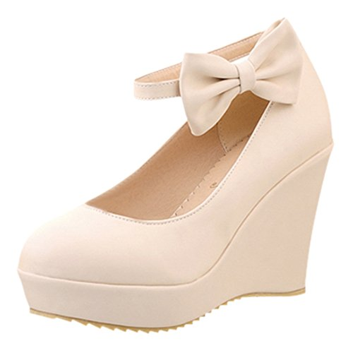 Compensé Chaussures et Douce et UH à Bride Rond Plateforme Escarpins Bout Cheville Beige Noeud Talons Femmes avec Conforts w0OIqU