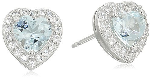 Sterling Silver Created Aquamarine and Created White Sapphire Halo Heart Stud Earrings