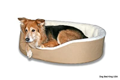 Dog Bed King USA Cuddler Nest Pet Beds. Solid Exterior With Soft Imitation Lambswool Interior. Removable Machine Washable Covers. Made In America.