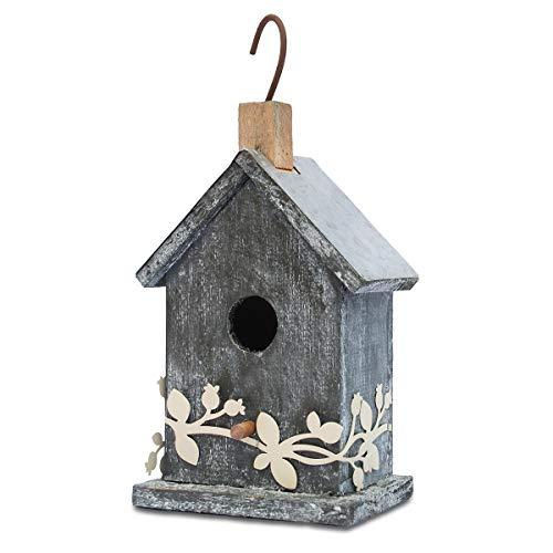 "Later M Wood Bird House 9.5"" by 2019 Grayish-White Simplicity Handicrafts Birdhouse Garden Decoration"